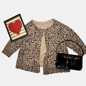 Leopard Print One Button Cropped Cardigan
